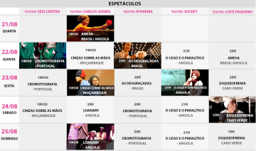 Festival de Teatro da Língua Portuguesa 2013 Programação